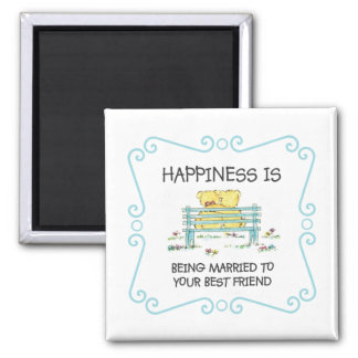 Happiness Is Being Married to Your Best Friend 2 Inch Square Magnet
