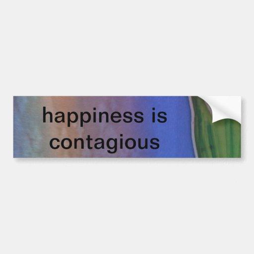"""Happiness is Contagious"" Bumper Sticker Car Bumper Sticker"