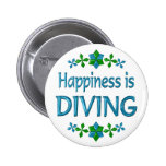 Happiness is Diving Pinback Buttons