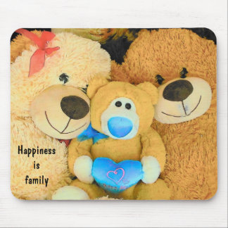 Happiness is Family Teddy Bears Mouse Pad