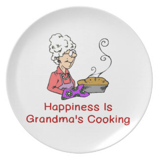HAPPINESS IS GRANDMA'S COOKING DINNER PLATE
