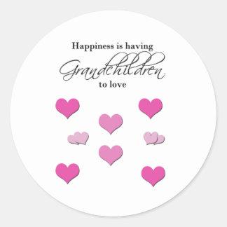 Happiness is Having Grandchildren to Love Round Sticker