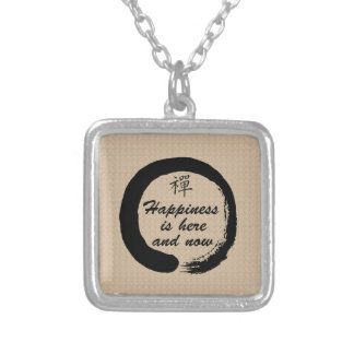 Happiness is Here and Now Silver Plated Necklace