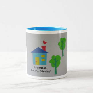 Happiness is Home for Schooling! Two-Tone Coffee Mug