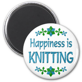 Happiness is Knitting 2 Inch Round Magnet