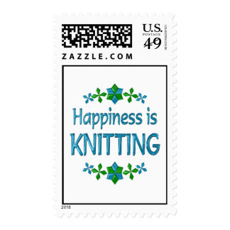 Happiness is Knitting Postage Stamps