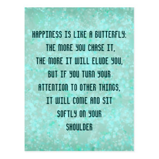 Happiness is like a Butterfly Postcard