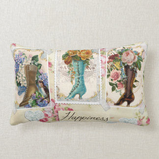 Happiness is lots of Shoes - vintage scrapbooking Lumbar Pillow