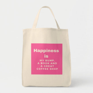 Happiness is my bump, a book and a coffee shop tote bag