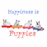 Happiness is Puppies - White Bull Terrier Pups Photo Sculpture
