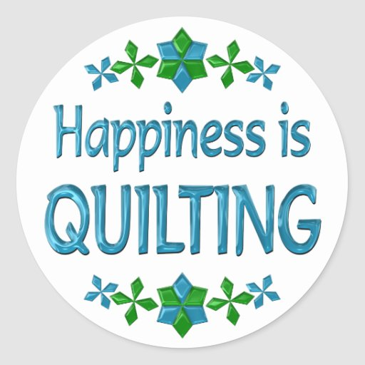 Happiness is Quilting Classic Round Sticker