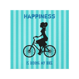 Happiness Is Riding My Bike - Cyclist Silhouette Canvas Print
