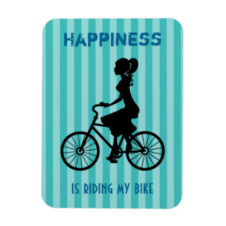 Happiness Is Riding My Bike - Cyclist Silhouette Magnet