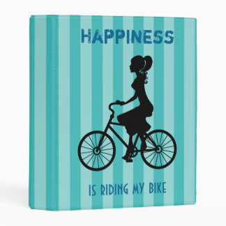 Happiness Is Riding My Bike - Cyclist Silhouette Mini Binder
