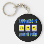 HAPPINESS IS ROOM FULL OF SLOTS BASIC ROUND BUTTON KEYCHAIN