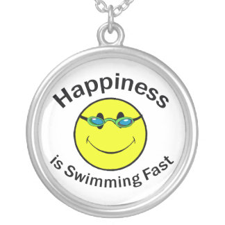 Happiness is Swimming Fast Round Pendant Necklace