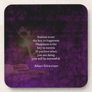 Happiness Is The Key To Success Uplifting Quote Beverage Coaster