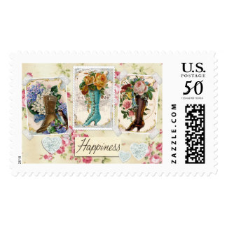 """Happiness is Victorian Boots, 2.5"""" x 1.5"""", $0.47 Postage"""