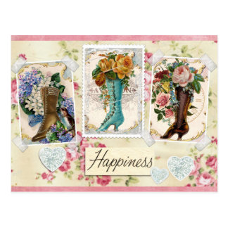 Happiness is Victorian Steampunk Boots Postcard