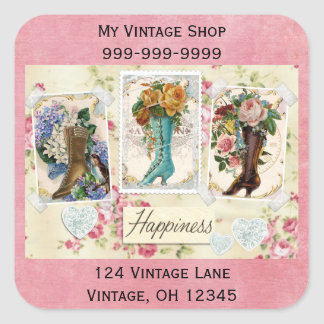 Happiness is Victorian Steampunk Boots Stickers