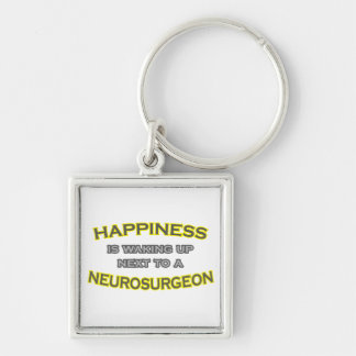 Happiness Is Waking Up .. Neurosurgeon Silver-Colored Square Keychain