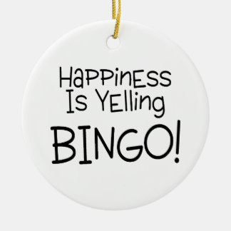 Happiness Is Yelling Bingo Double-Sided Ceramic Round Christmas Ornament