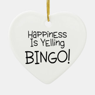 Happiness Is Yelling Bingo Double-Sided Heart Ceramic Christmas Ornament