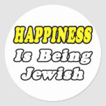 Happiness...Jewish Classic Round Sticker
