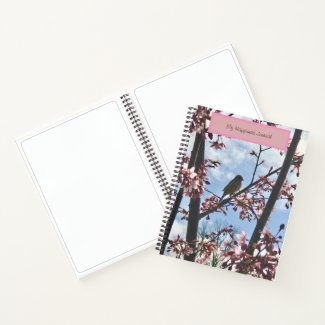 Happiness Journal /Bird With Cherry Blossoms