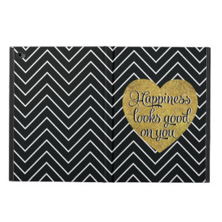 Happiness Looks Good Gold Heart Black Chevron Powis iPad Air 2 Case