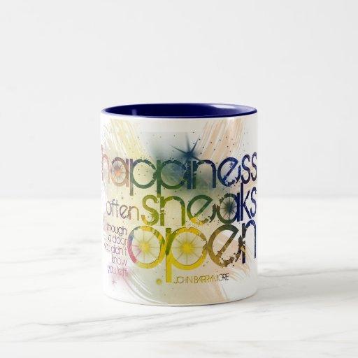happiness often sneaks in through a door coffee mugs