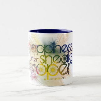 happiness often sneaks in through a door Two-Tone coffee mug