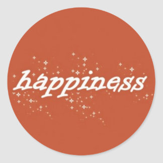 Happiness on Orange Classic Round Sticker