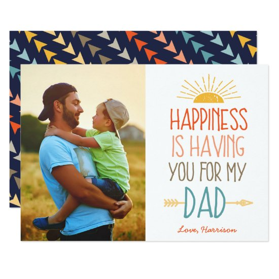 Happiness | Photo Father's Day Flat Card