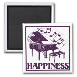 Happiness: Piano 2 Inch Square Magnet
