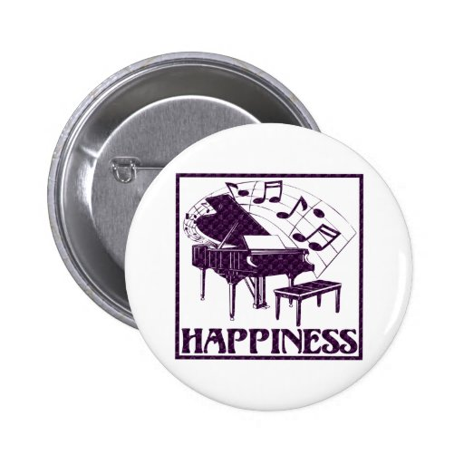 Happiness: Piano Pinback Button