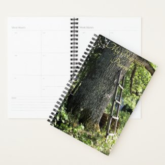 Happiness Planner Ladder Against an Old Oak Tree