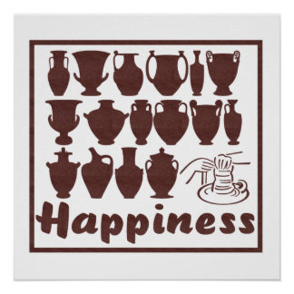 Happiness Pottery Print