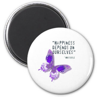 Happiness Purple Butterfly 2 Inch Round Magnet