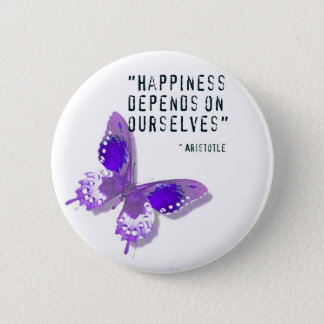 Happiness Purple Butterfly Pinback Button