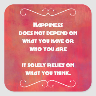 Happiness Quotation on an Orange Red Abstract Square Sticker