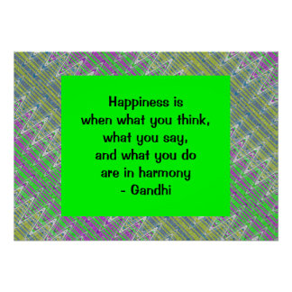 Happiness Quote Colorful Pattern Poster