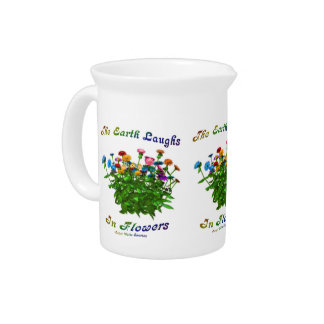 Happiness Quote Flowers Inspirational Beverage Pitcher