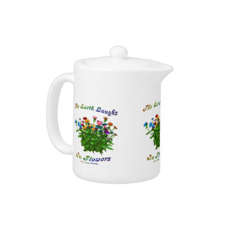 Happiness Quote Flowers Inspirational Teapot