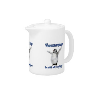 Happiness Quote Penguin Inspirational Teapots