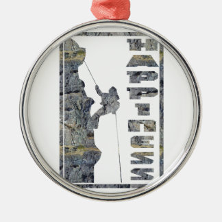 Happiness: Rock Climbing Round Metal Christmas Ornament