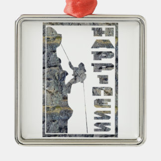 Happiness: Rock Climbing Square Metal Christmas Ornament