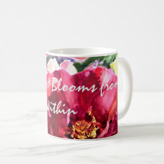 Happiness Rose Floral Watercolor Art Coffee Mug