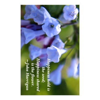 Happiness shared is a flower stationery