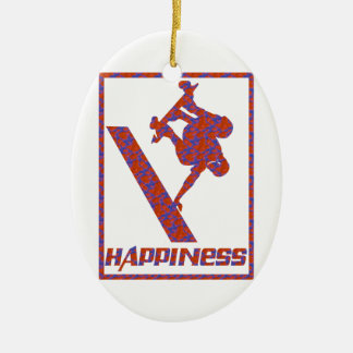 Happiness: Skateboarding Christmas Ornament
